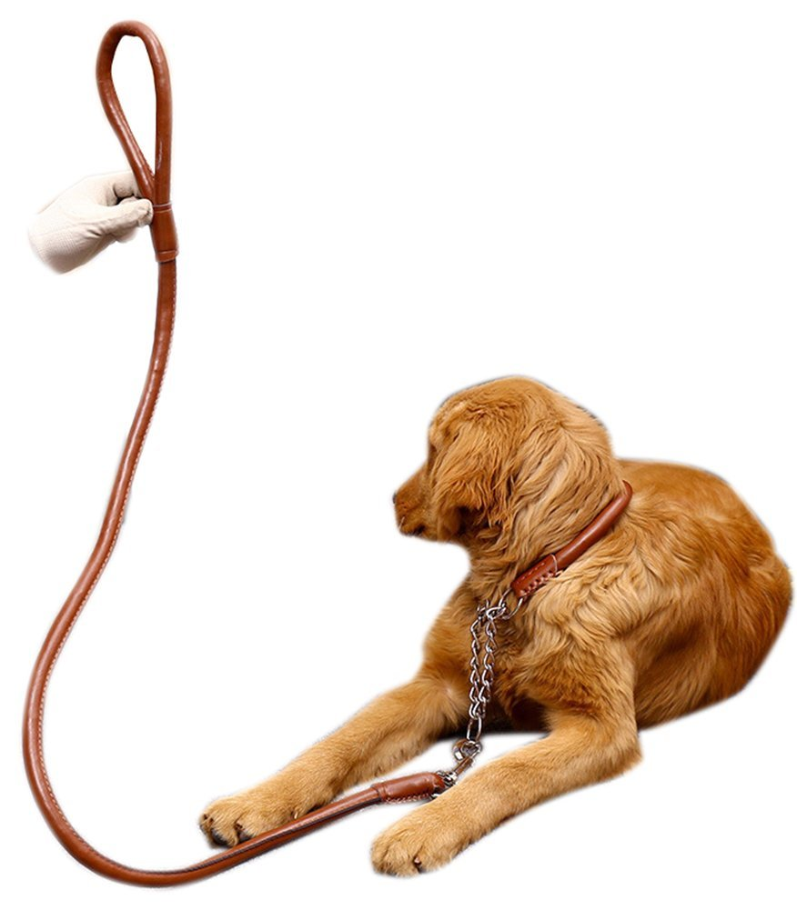 Brown XL brown XL Simple design Leather Dog Leash Set With Collar Harness Leading Leash Leather Heavy Dog Lead Leash Training Leash