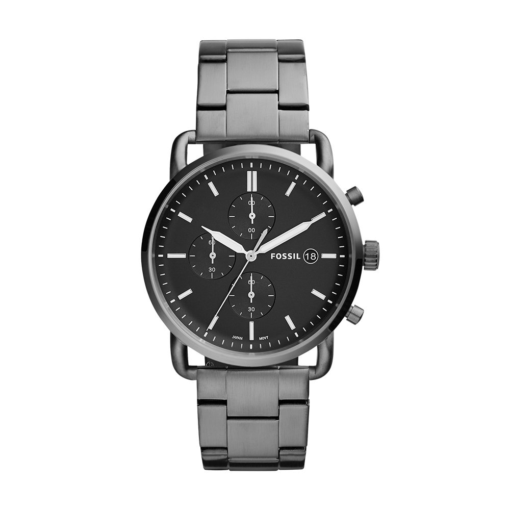 5f06c0ef8 Amazon.com: Fossil Men's Commuter Quartz Stainless Steel Dress Watch Color:  Grey (Model: FS5400): Fossil: Watches
