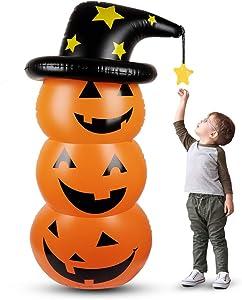 Halloween Inflatable Pumpkin Tumbler ,4.6 Ft Inflatable Pumpkin Decoration with Witch Hat ,Novel Halloween Inflatable Pumpkin for Home Shop Yard Decoration ,Indoor Outdoor Halloween Party Supplies