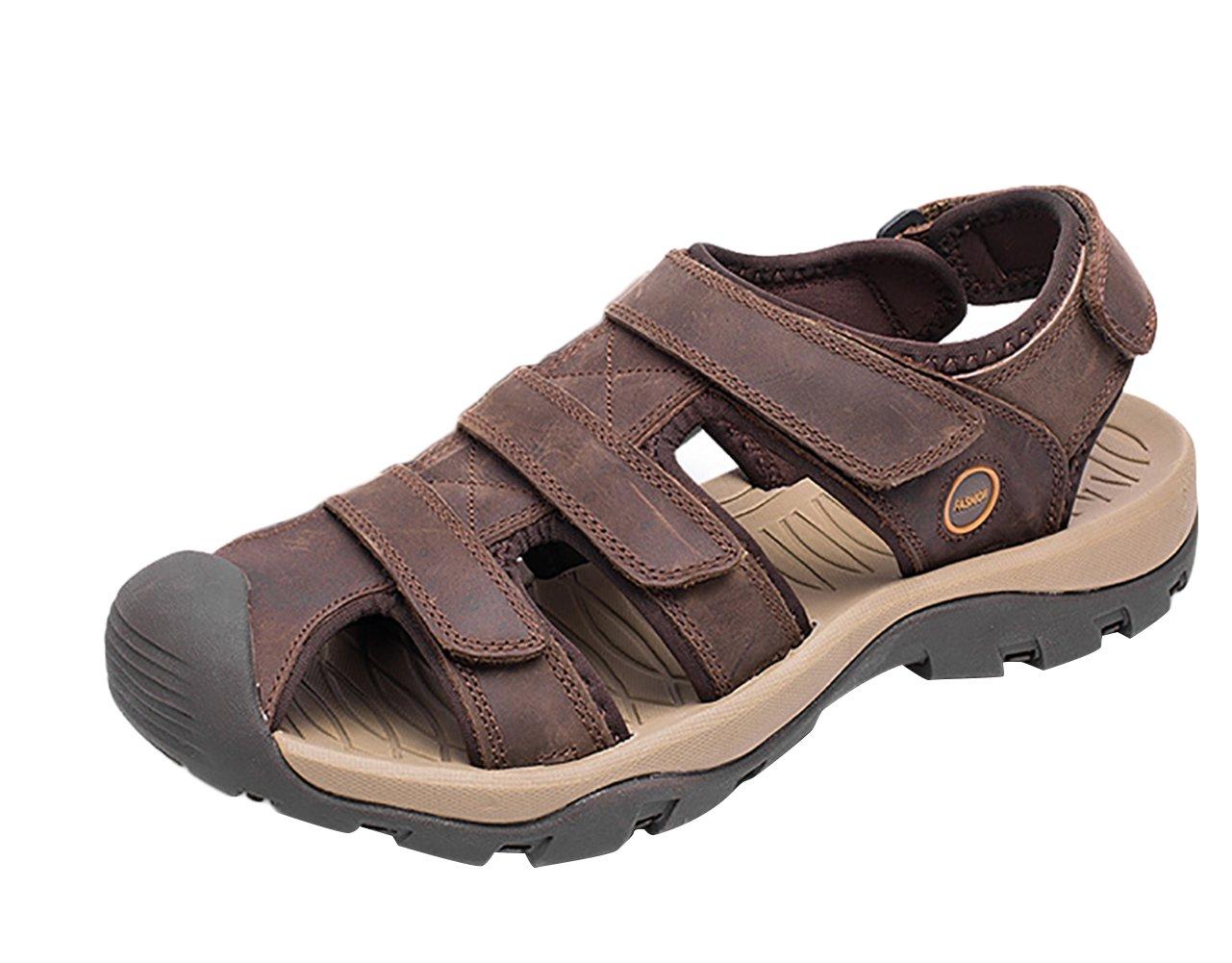 SK Studio Punta Cerrada Sandalias Hombre Trekking de Cuero Talla Grande Transpirables Zapatos Con Velcro 45 EU|Marron Oscuro