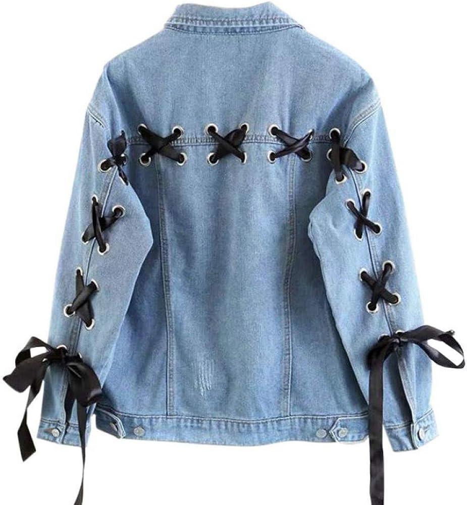 DICZYFW Chaqueta De Mezclilla Trasera para Mujer Encaje Otoño Abrigo Extragrande Informal Chaqueta De Mezclilla A Juego Blue