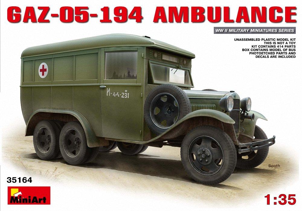 Miniart - Kit modellino Ambulanza  GAZ-05-194  , Scala 1 35, plastica