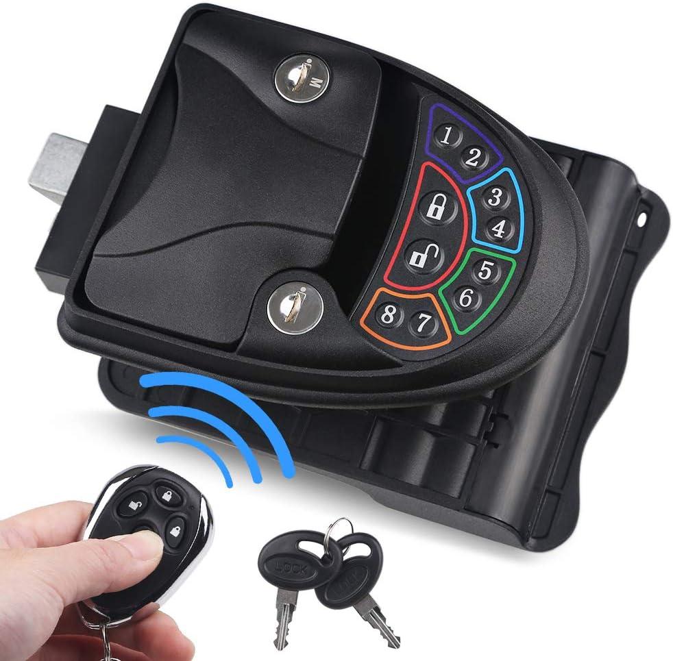 WATERWICH RV Keyless Entry Door Lock Handle Latch Zinc Alloy Wireless with Keypad & Fob 20m Remote Control for Caravan Camper Bus Yacht Ferry Truck (Black)