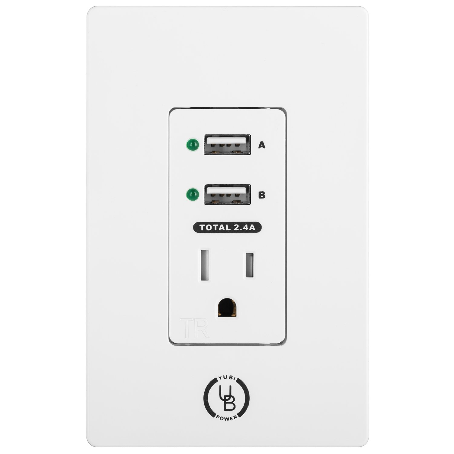 Yubi Power 2.4A Dual USB Wall Outlet 15A Tamper Resistant Receptacle AC Outlet Wall Plate - UL Listed