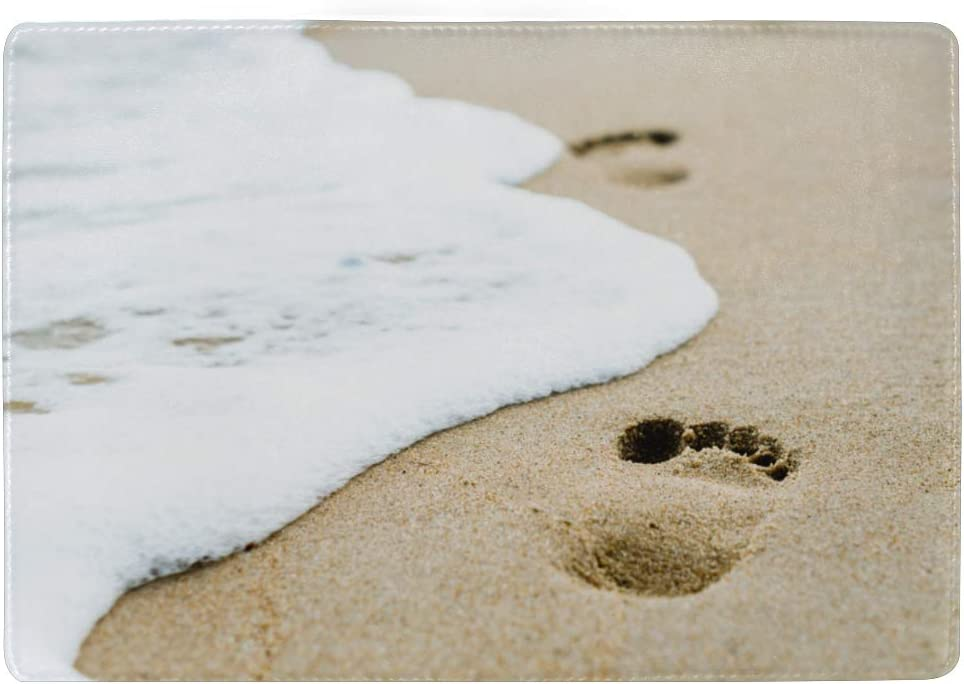 Footprints On Sand Beach Blocking Print Passport Holder Cover Case Travel Luggage Passport Wallet Card Holder Made With Leather For Men Women Kids Family
