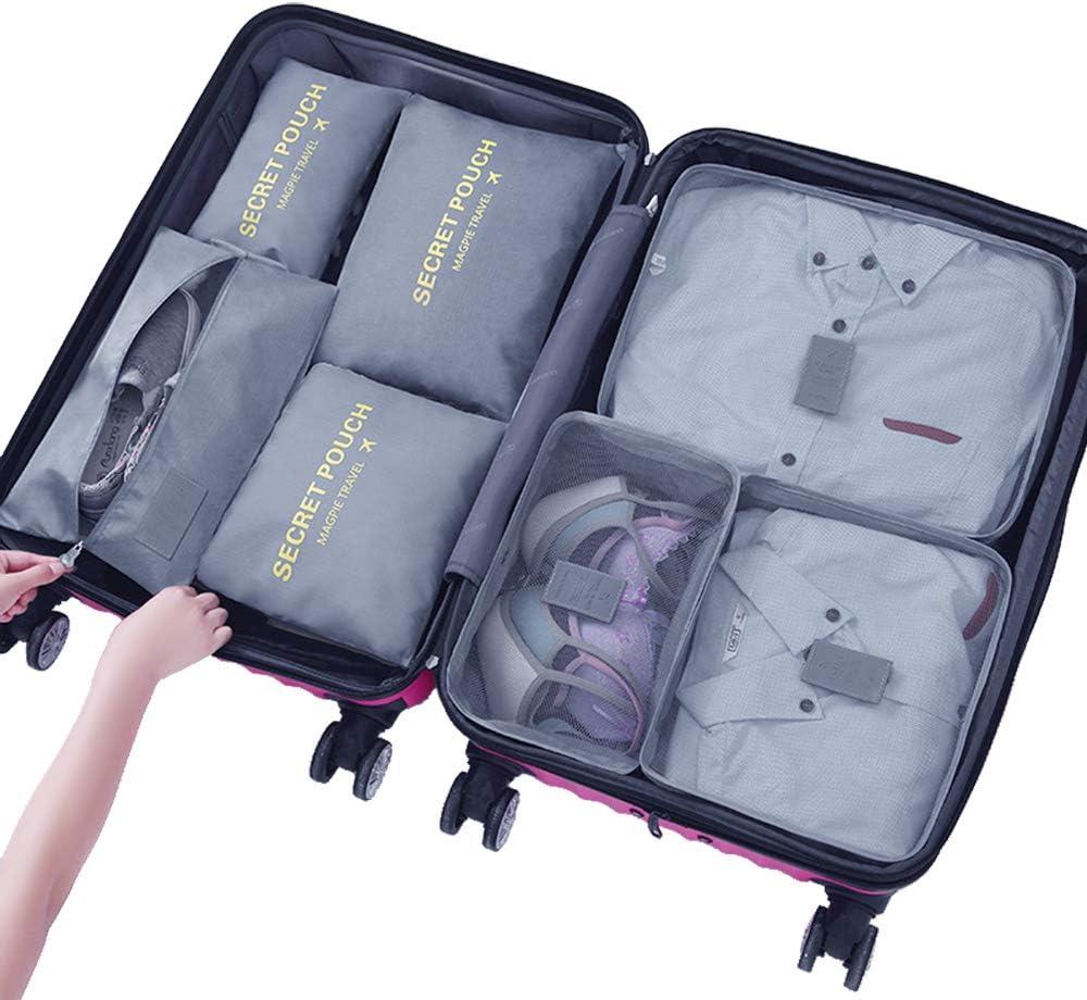 LOSMILE Organisateurs de Voyage Ensemble de 7,Sacs de Rangement dans Valise Sac Emballant des Cubes Extensible de Rangement. Organiseurs de Bagage Bleu Fonc/é