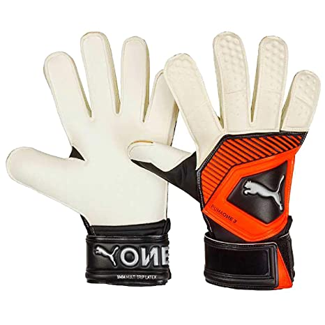 e620cb8287d5 PUMA One Grip 3 RC Junior Goalkeeper Gloves Size 4 White/Orange/Black