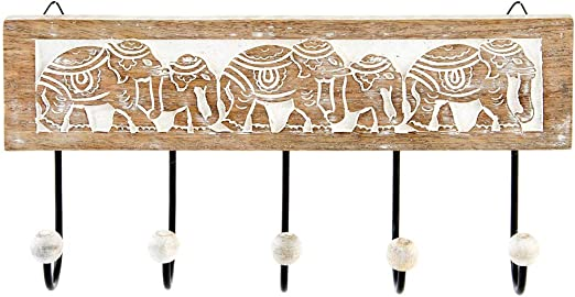 Dcasa Perchero Pared 5 Colgador Madera Tallada Elefante 38x18 cm