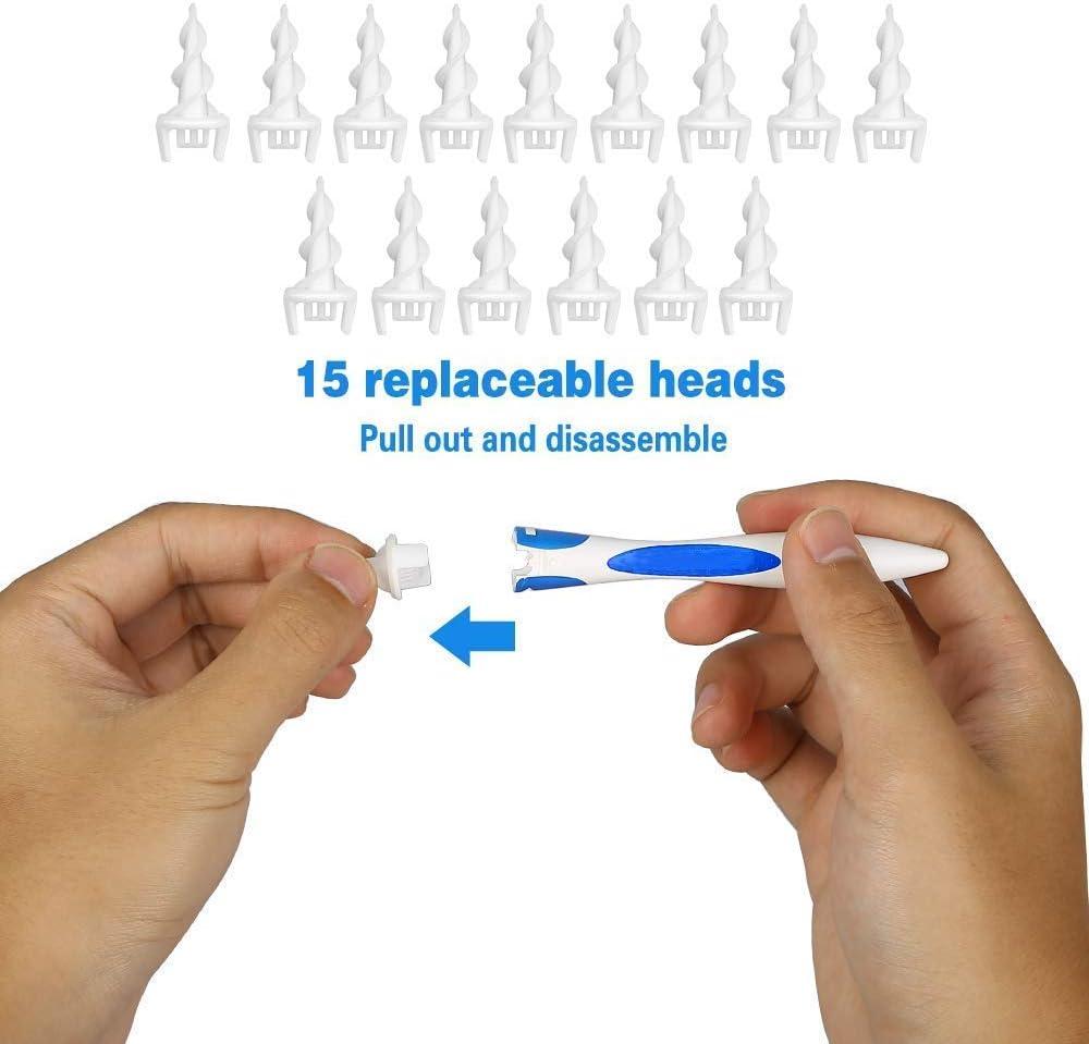 Ohrenreiniger f/ür Menschen,HKBTCH Spirale Silikon Ohrenschmalz Entferner Mit 16 Ersatzk/öpfen,Intelligentes Ohrenschmalzentferner f/ür Jugendliche und Erwachsene