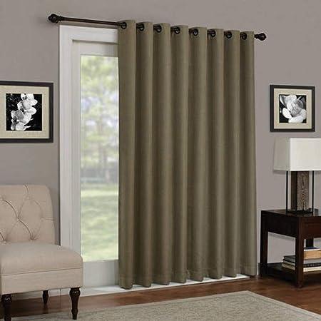 1 pieza 84 pulgadas Natural color sólido opaco cortina de puerta corredera, marrón puerta corrediza de