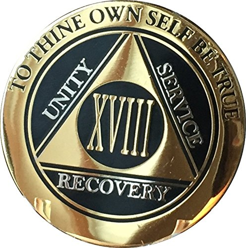 Recoverychip 18 Year AA Medallion Elegant Black Gold Silver Bi-Plated Alcoholics Anonymous Chip ()