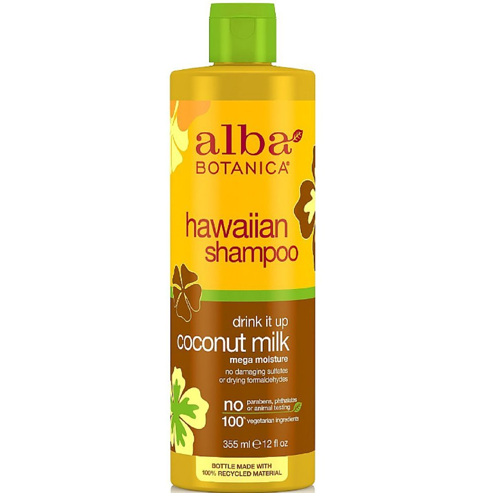 Alba Botanica Hawaiian Shampoo, Coconut Milk 12 oz (Pack of 4)