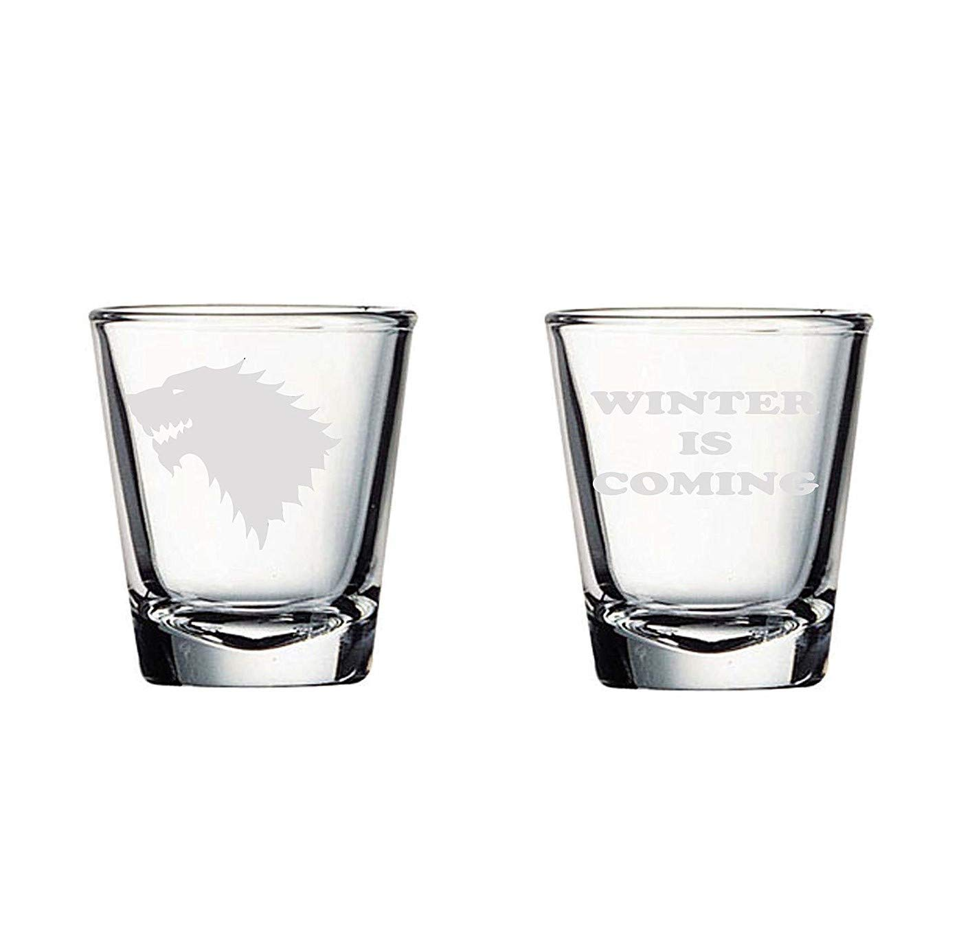 House Stark Shot Glass Set of Two (By Brindle Designs) Game of Thrones Shot Glass/Toothpick Holder Set: Stark Sigil and Winter Is Coming