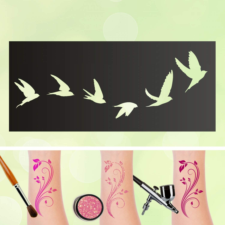 Plantillas para tatuaje, palomas autoadhesivas, maquillaje para ...