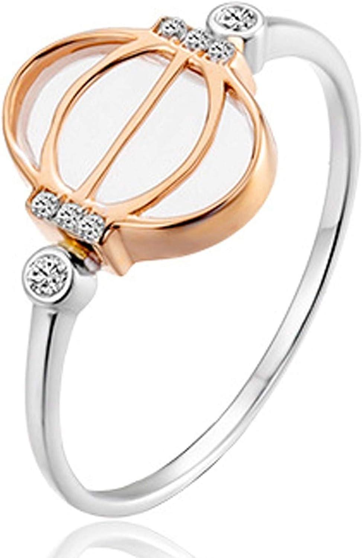 Epinki Mujer 18K Oro Rosa + 18K Oro Blanco Anillo 0.088ct Zafiro Redonda Linterna Hueca Anillos Mujer Compromiso