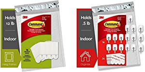 Command Picture Hanging Strips, Medium, White, 16-Pairs & Wire Hooks, 16 Hooks, 24 Strips, White, Small, Easy to Open Packaging (GP067-16NA)