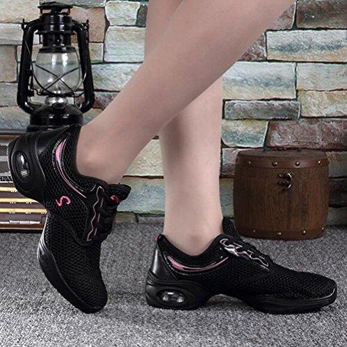 Sneaker Farbe Größe 40 Fitness Rosa Tüll Turnschuhe Schuhe Frauen Damen Erwachsene Rosa Flache Ferse Freizeitschuhe Dance Performance CAI Bewegung Square Turnschuhe Tanzen TF0Hnqx