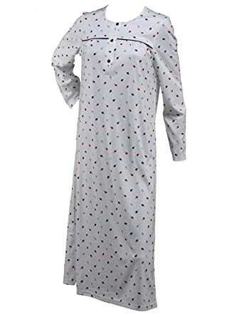 a67e896f88 Ladies Leaf Pattern Jersey Cotton Nightdress Womens Long Sleeved Round Neck  Nightie Small (Navy)