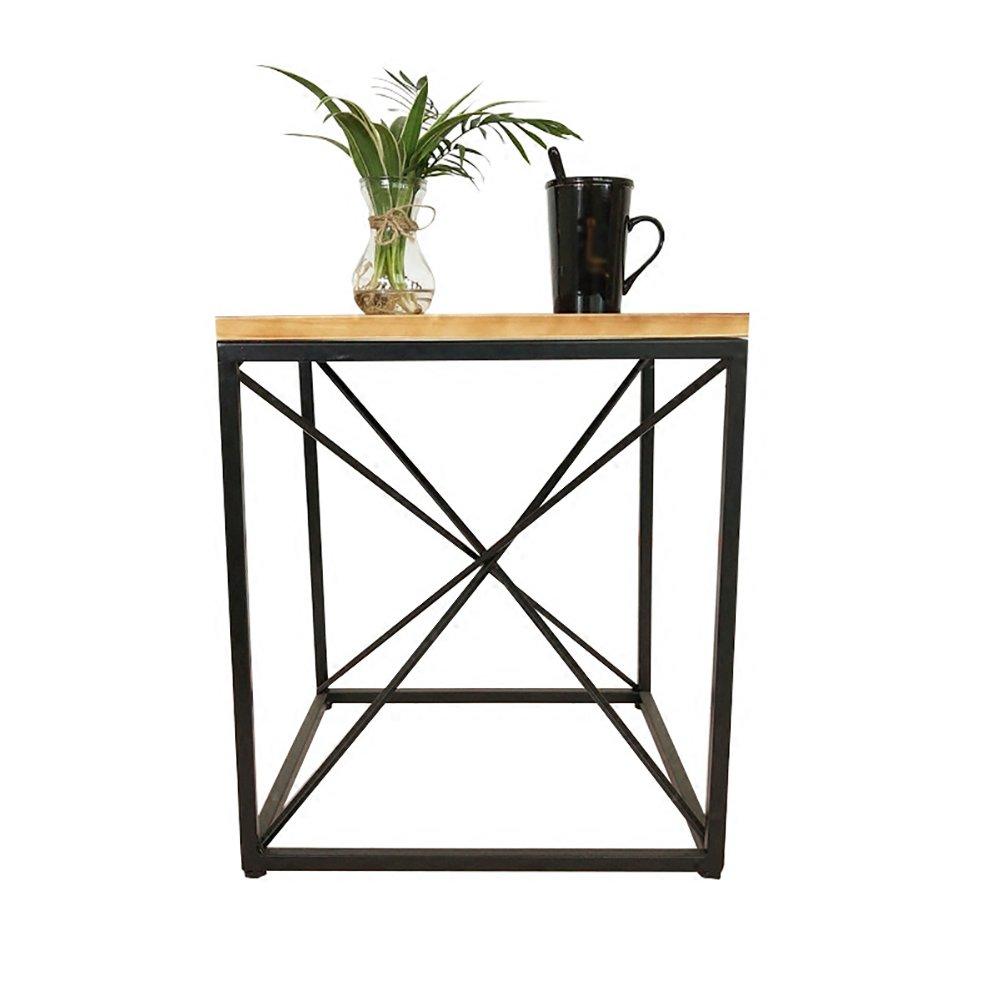 CSQ テーブル、コーヒーテーブル、サイドテーブル、ソファサイドテーブルベッドサイドテーブルライティングデスクドレッシングテーブルダイニングテーブルソリッドウッド+アイロン材質45 * 45 * 50CM コーヒーテーブル (色 : A) B07DNQNNSRA