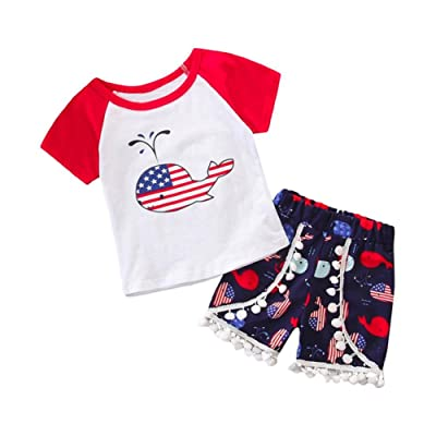 DIGOOD Newborn Baby Girl Boy Cotton Short Sleeve Print T-shirt Top Shorts Outfits Clothes Set For 0-3 Years old Baby