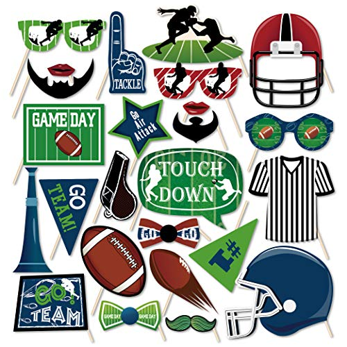 CC HOME American Football Photo Booth Props 25Ct,Sports Game day Party Favor for Football Theme Birthday Party,NFL Party,Tailgate Party,Super Bowl Party Supplies Decorations