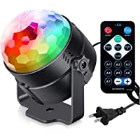 Party Lights with Remote Control Plug in Dj Lighting RBG Disco Ball Strobe Lamp 7 Modes Stage for Home Room Dance…