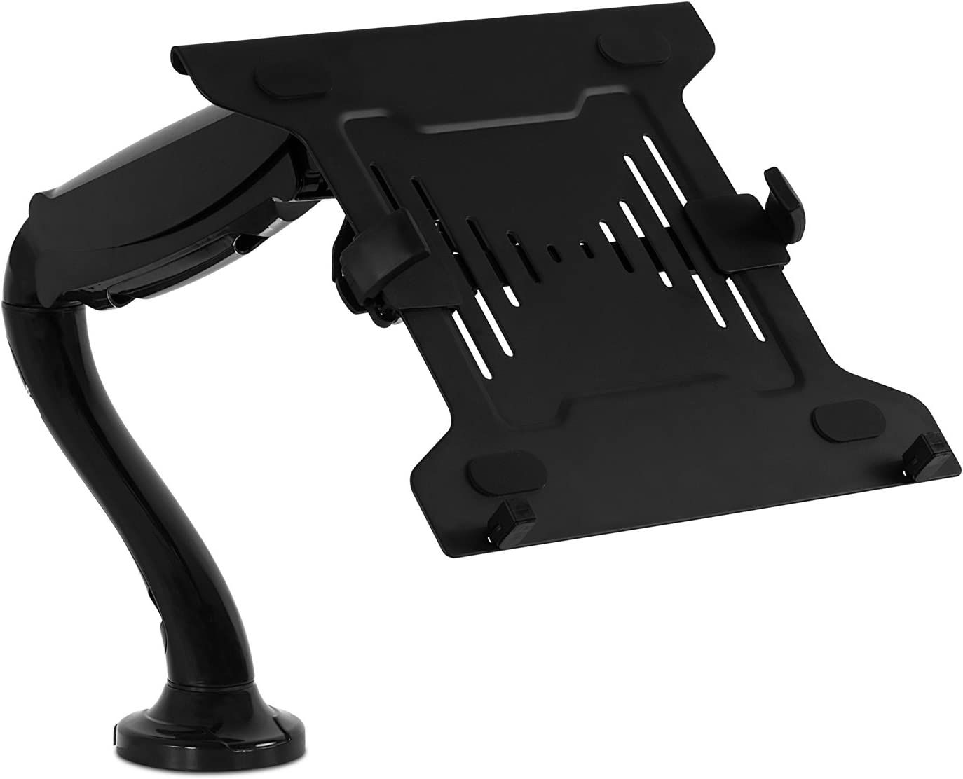 Mount-It! Laptop Desk Arm | Swivel Laptop Stand with Gas Spring Arm | Height Adjustable Laptop Arm Mount for MacBook, Dell, HP & 11-15 Inch Laptops