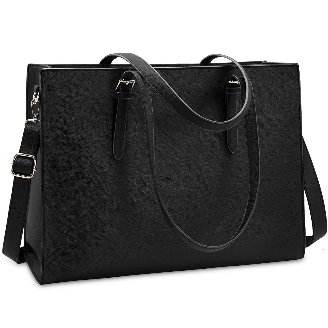Laptop Bag for Women Waterproof Lightweight Leather 15.6 Inch Computer Tote Bag Business Office Briefcase Large Capacity Handbag Shoulder Bag Professional Office Work Bag Black by NUBILY