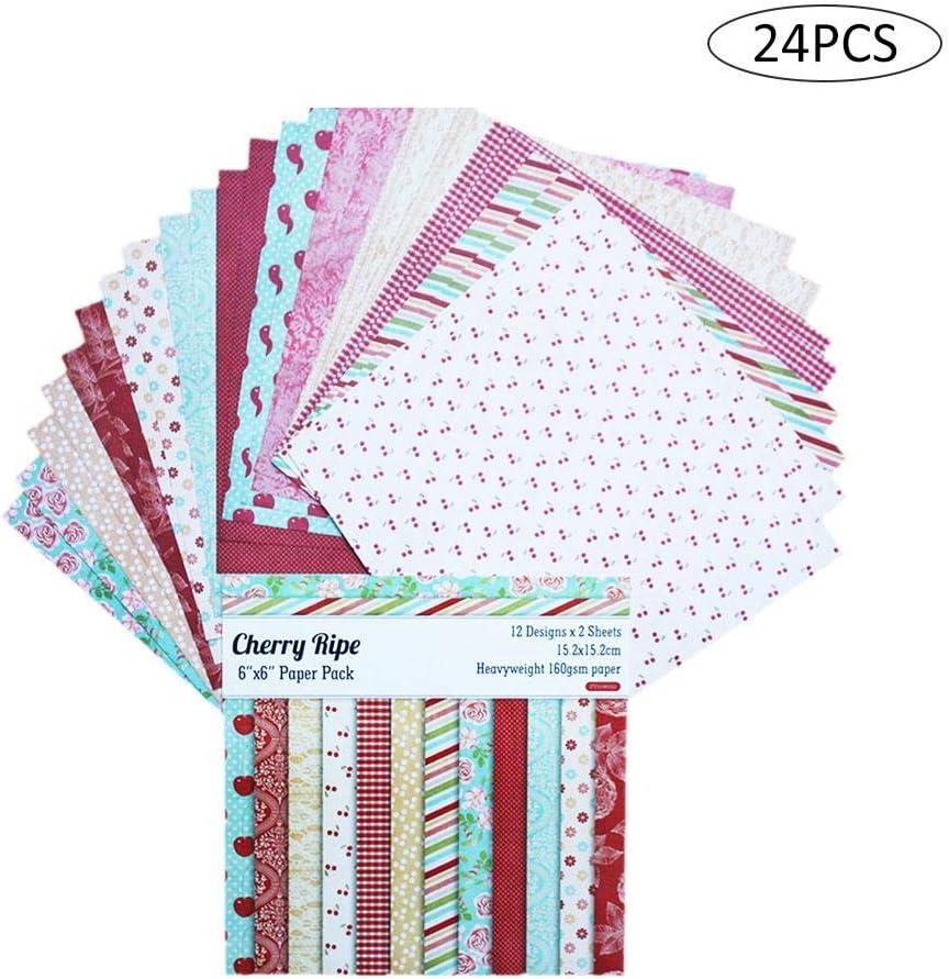 Papel Estampado Patrón 24 Hojas De Paper Decorativas Pack Scrapbooking Estampado Flores Románticas Vintage Para DIY Paper Decorativa Manualidades - 15.2 X 15.2cm- Haodene: Amazon.es: Bricolaje y herramientas