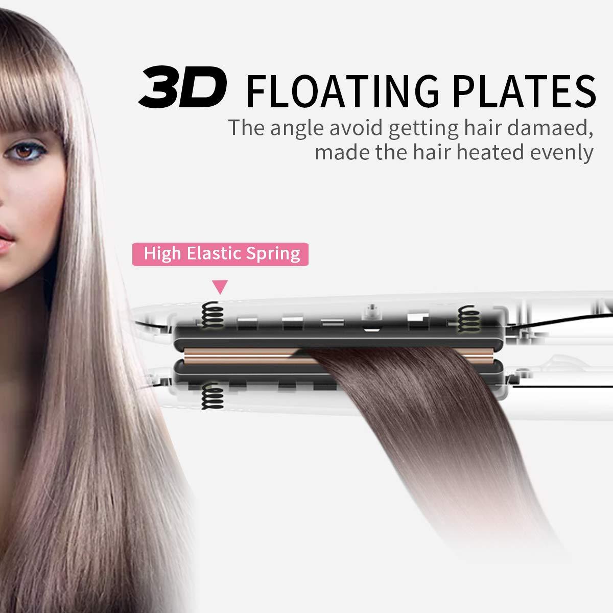 Fer à Lisser Lisseur Cheveux Longues plaques ioniques en céramique Température Ajustable Arrêt Automatique Verrou de sécurité Affichage numérique de la température