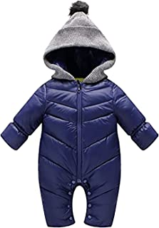 SUPEYA Newborn Baby Hooded Puffer Jacket Jumpsuit Winter Warm Snowsuit Coat Rompers