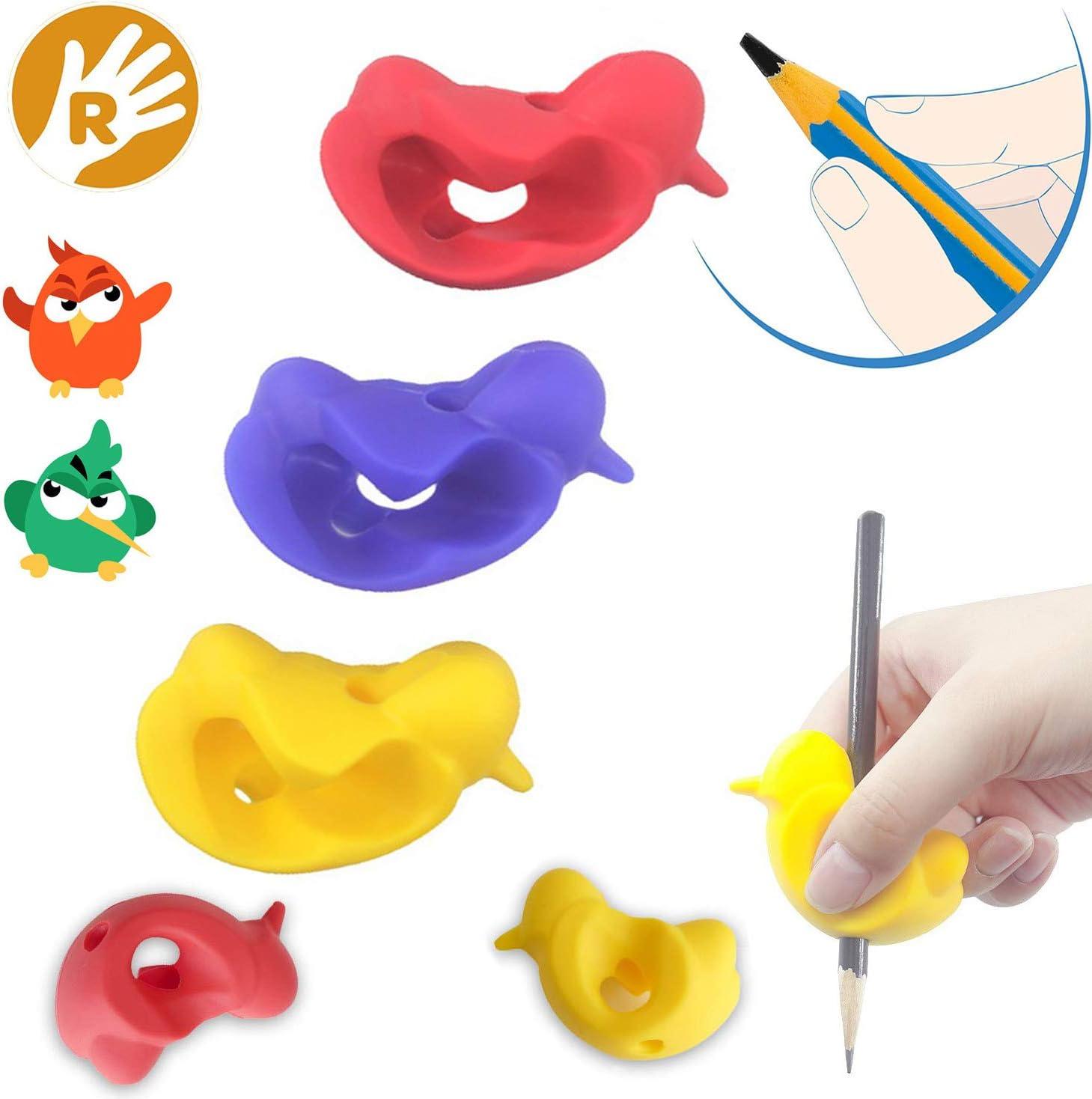 Agarre para lápices, herramienta correctora de postura para niños, ayuda a escribir lápices, diseño original 3D con forma de pájaro, paquete de 3