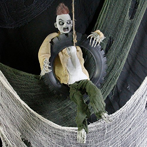Halloween Haunters 3′ Animated Hanging Swinging Tire Zombie Boy Reaper Prop Decoration