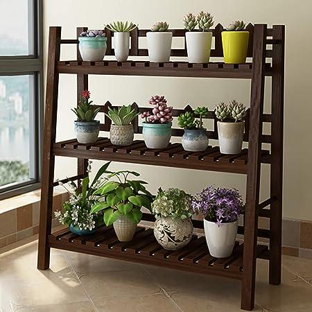 3 Niveles Madera Soporte de la flor estantería Escalera Estantería para plantas Interiores Aire libre Patio Jardín Patio El balcón Multifuncional Almacenamiento Estantería-marrón 31x12x37