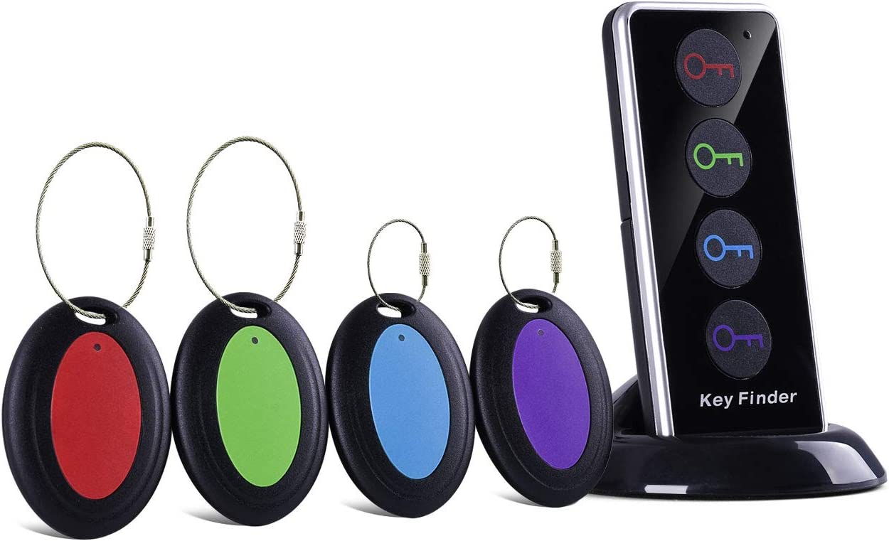 Key Finder with Extra 4 Long Chains, Simjar Wireless Remote Control RF Key Finder Locator for Keys Wallet Phone Glasses Luggage Pet Tracker
