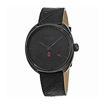 1f504456573c Amazon.com  Fendi Momento Black Dial Leather Strap Men s Watch ...