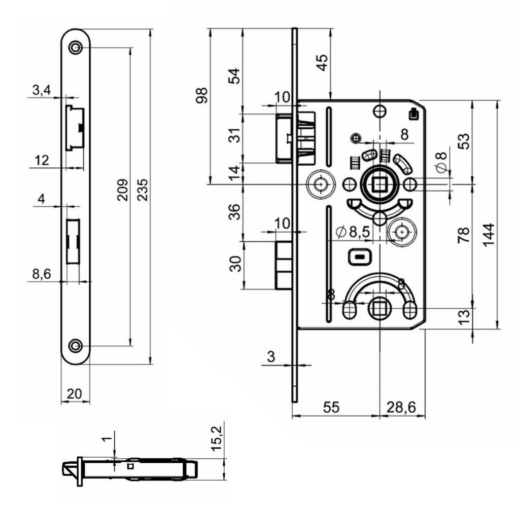 Premium M4TEC ZB5 WC//Badt/ür-Einsteckschloss Innenraumt/ür Klasse 1 Stulpplatte Farbe Silber Metallic haltbar /& leichte Montage Elegantes Design Robust DIN L Eintourig -Ideal f/ür Toiletten-T/üren