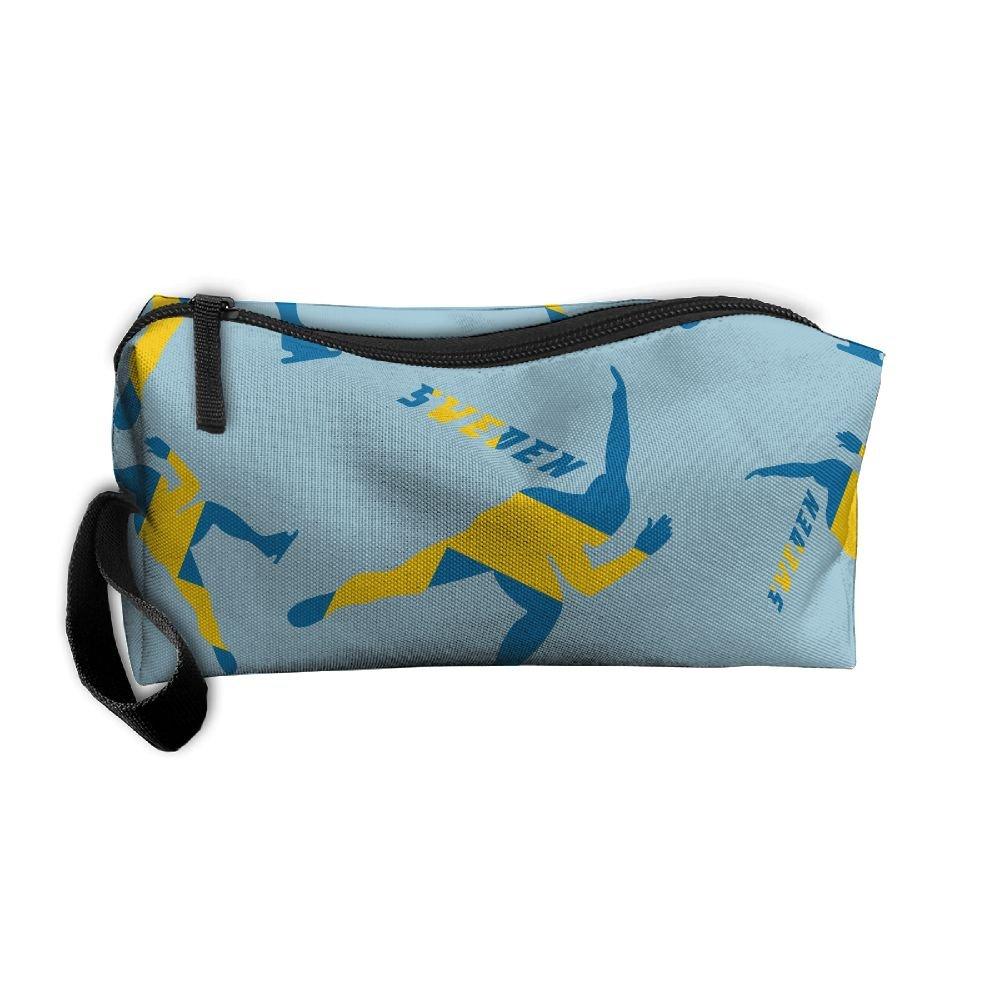 Short Track Speed Skating Sweden Flag 3D Print Women Waterproof Make-up Receive Bag Portable Handbag