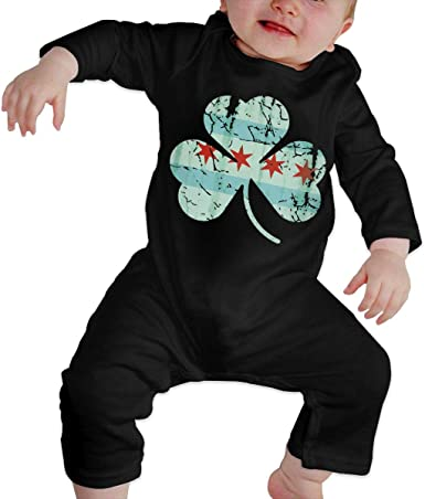 Mri-le1 Baby Girls Bodysuits Irish Chicago Flag Shamrock Baby Clothes