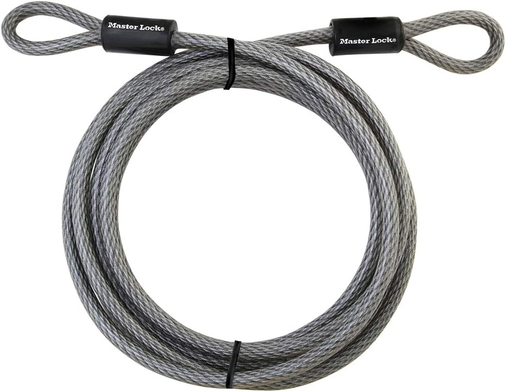 "Master Lock Cable, Steel Cable With Looped Ends, 72DPF, Black, 15' x 3/8"" Diameter - Security Cable -"