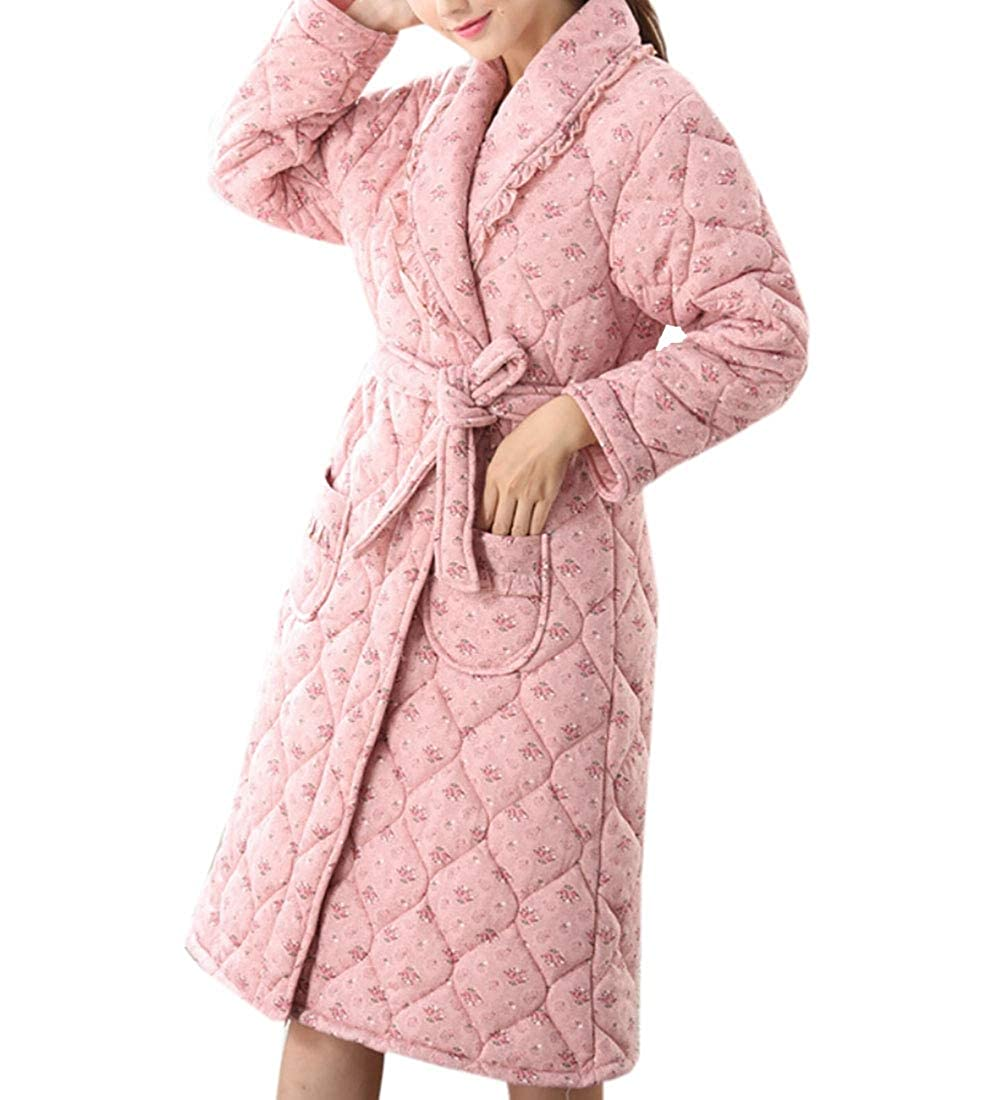 7 Keaac Women Cute Cotton Flannel Fleece Long Sleeve Cozy Bath Robe Sleepwear