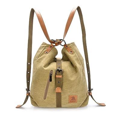 Women Casual Canvas Shoulder Bags Fashion Backpack Convertible Tote Bags  Work Bag School Bag (Khaki 3a4fb9e5ea060