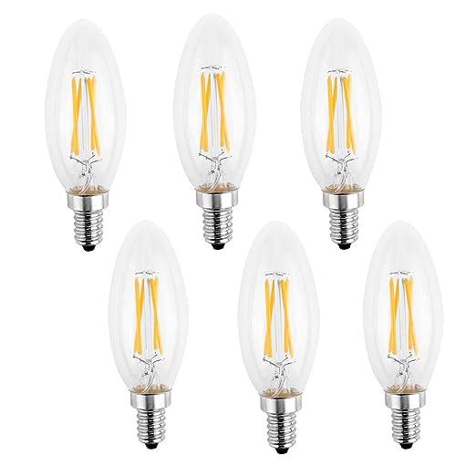 LemonBest 6 piezas intensidad regulable bombillas LED de candelabro, de repuesto para 40 W bombilla