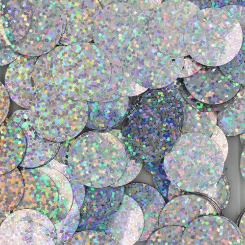 20mm Flat Round SEQUIN PAILLETTES ~ SILVER MULTI HOLOGRAM Metallic ~ Loose sequins for embroidery, bridal, applique, arts, crafts, and embellishment. Made in (Silver Metallic Applique)