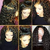 JAHUI Hair 180%-250% Density Remy Virgin Hair Pre Plucked 360 Lace Frontal Wigs for Black Women 360 Lace Wigs with Baby Hair(14 inch 180density, curly)