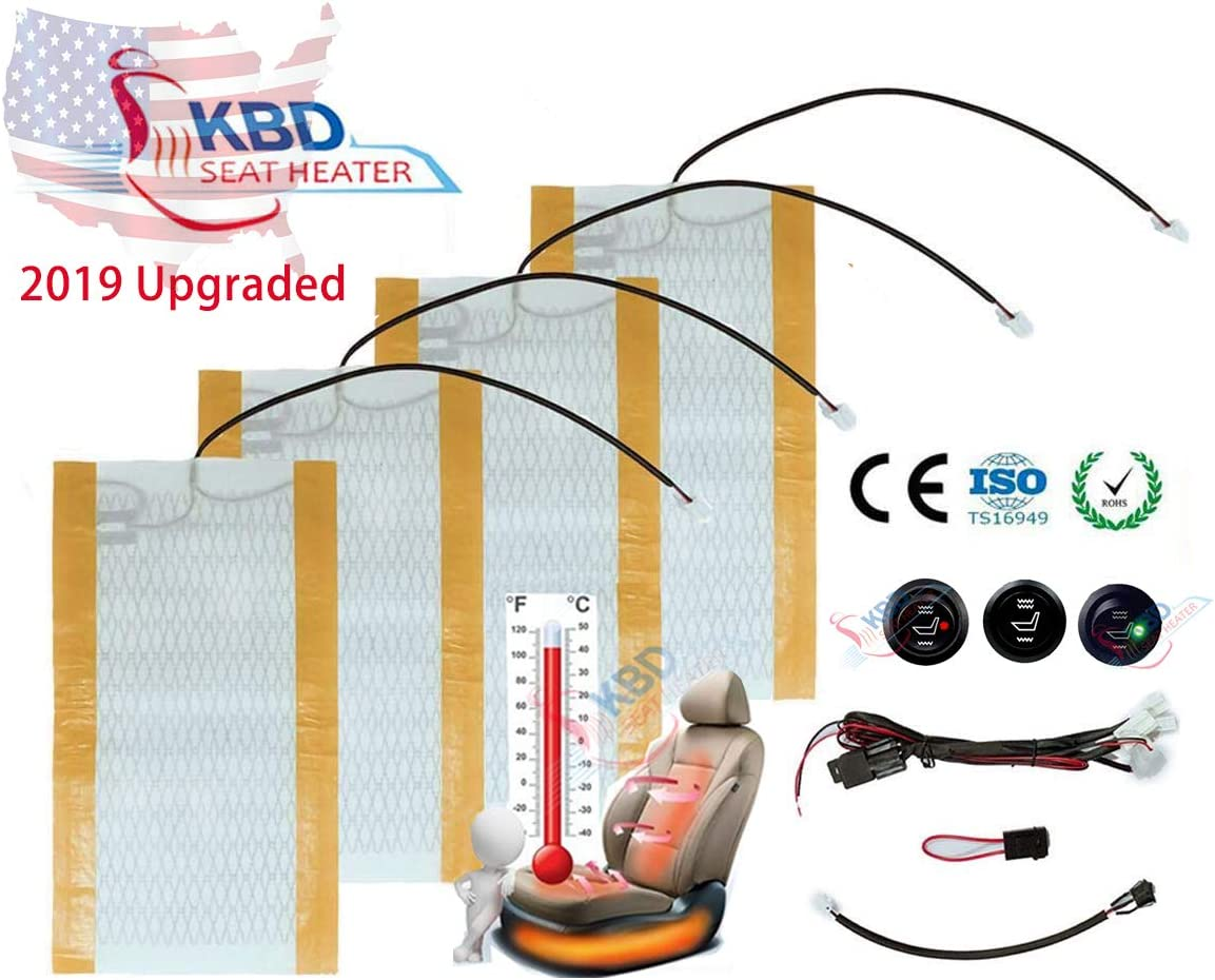 KBD Universal Car Seat Heat Kit for Car SUV Seat Heat High and Low Switc Temperature Settings 2 Seats