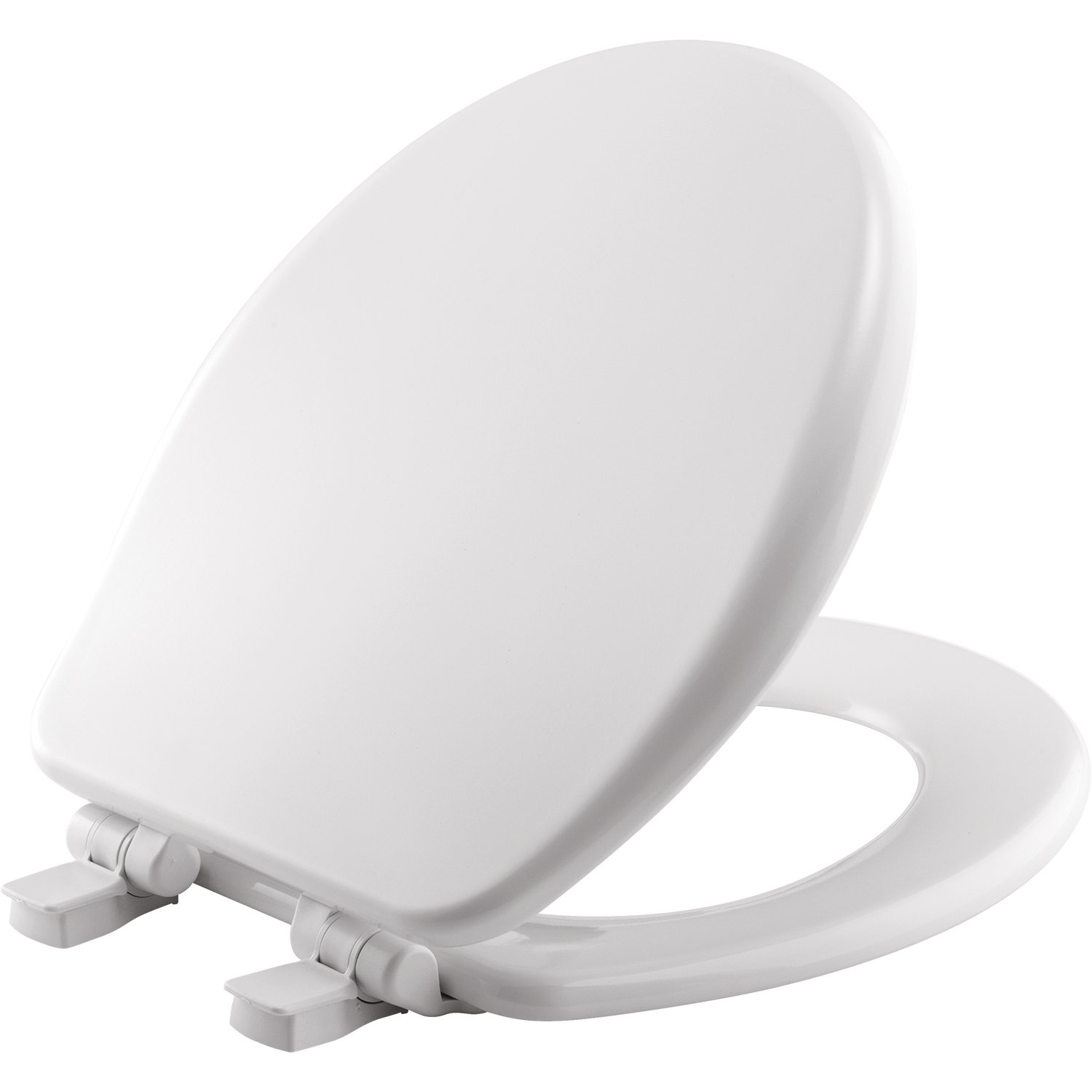 MAYFAIR Toilet Seat will Slow Close, Never Loosen and Provide the Perfect Fit, ROUND, Highly Stylized Durable Enameled Wood, White, 64SLOW