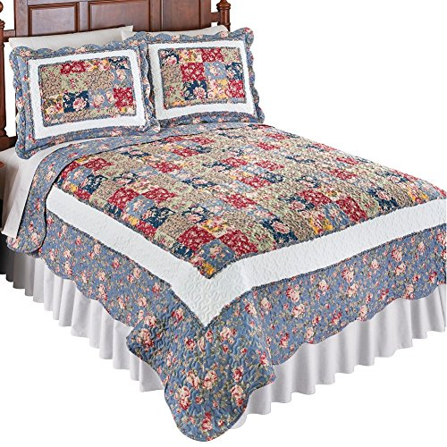 Collections Etc Beautiful Melanie Floral Patchwork Quilt, Light Blue, Burgundy, Green, Burgundy Multi, Twin (Border Quilt)