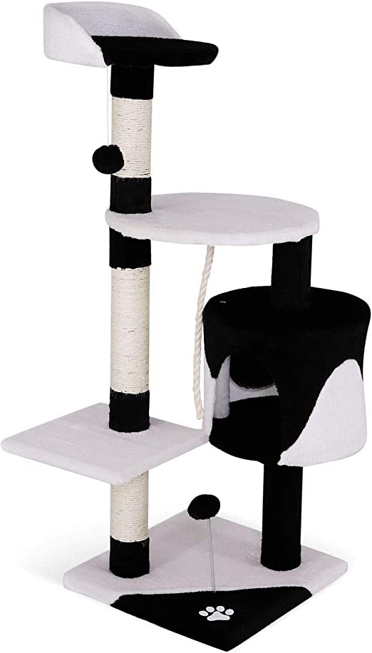 Oferta amazon: dibea Árbol rascador para Gatos, 112 cm (Negro/Blanco)