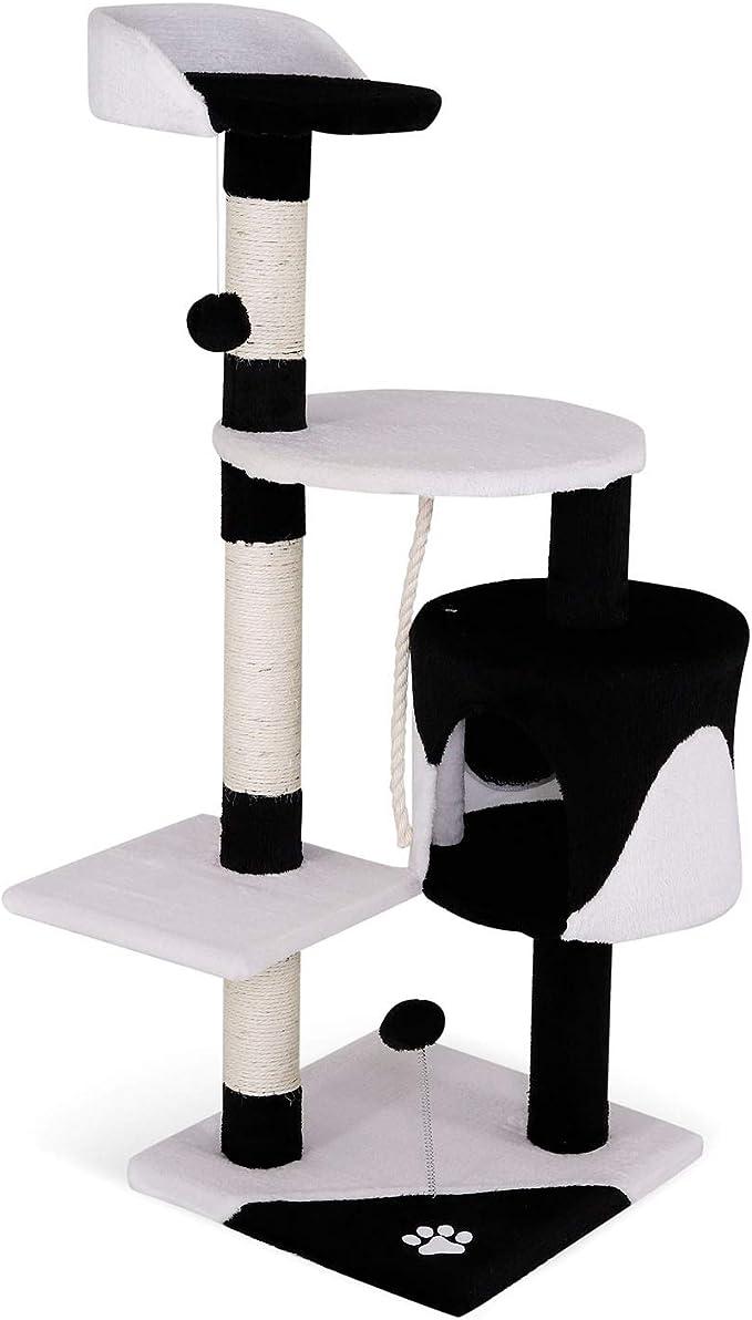 Árbol rascador para gatos, 112 cm (negro / blanco)
